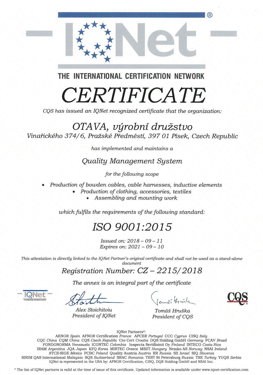 Certifikát na výrobu textilu